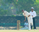 Shahbaz Nadeem loops the ball during his four-wicket haul, Jharkhand v Odisha, Ranji Trophy 2016-17, Group B, Thumba, 1st day, December 15, 2016