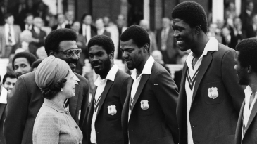 West Indies captain Clive Lloyd introduces his team-mate Joel Garner to Queen Elizabeth