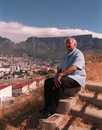 Basil D'Oliviera looks out over Cape Town from upper Bloem Street on Signal Hill where he once lived, November 23, 1995