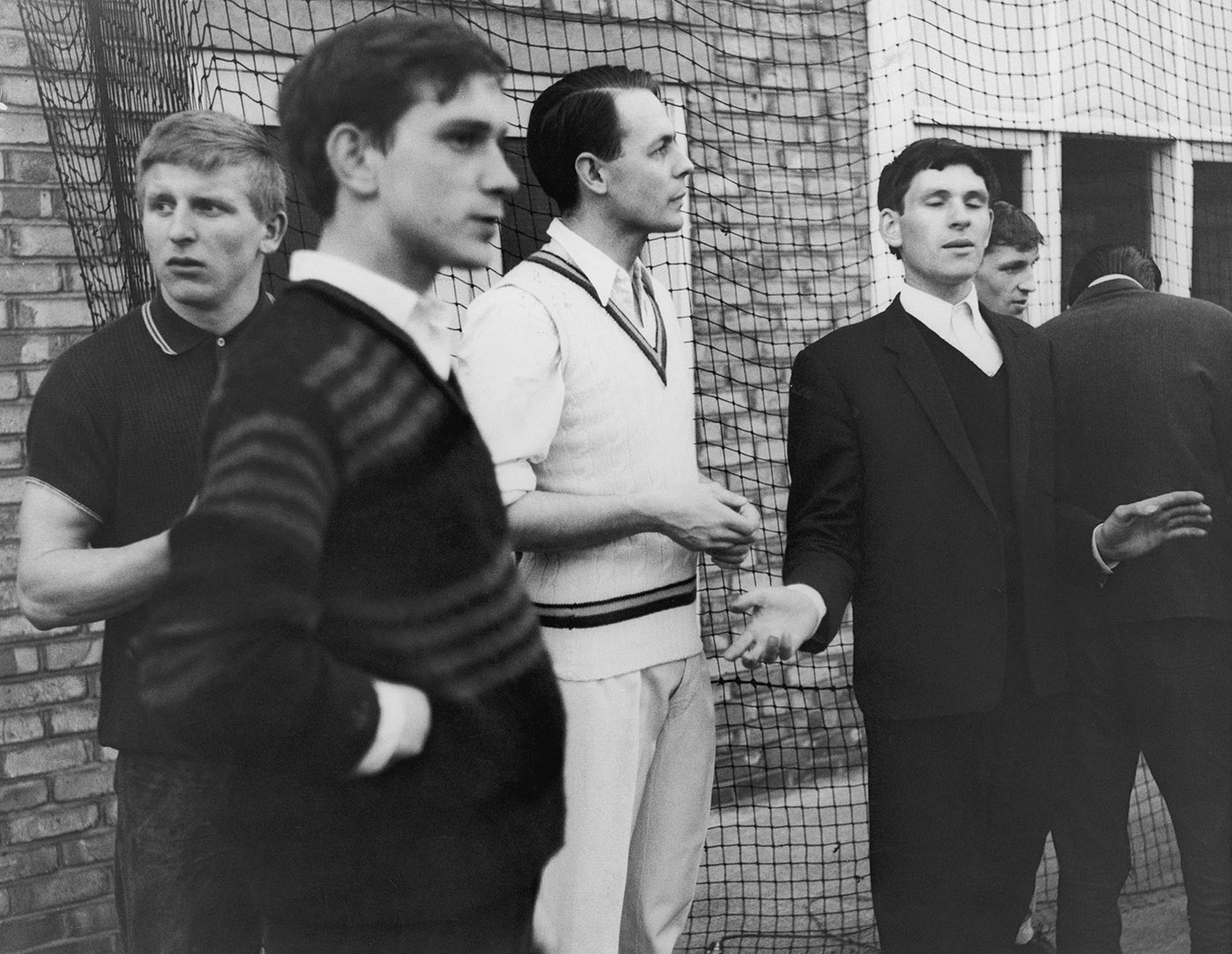 David Sheppard (third from left) was perhaps the first cricketer to speak out against playing apartheid South Africa