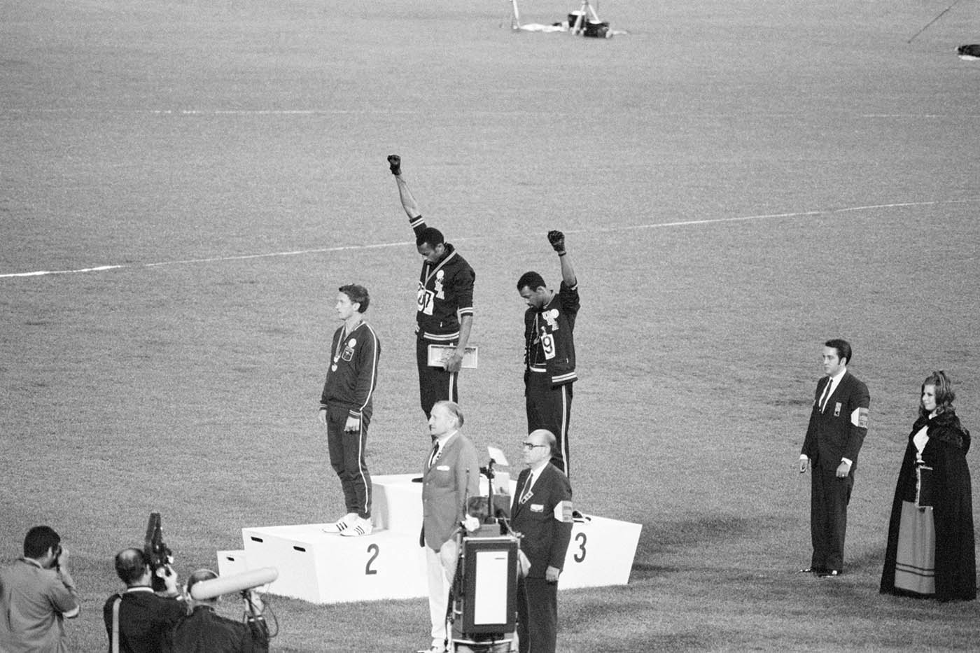 The Black Power salute at the 1968 Mexico Olympics. John Carlos later said that the gesture wasn't about racial issues