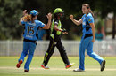 Tahlia McGrath celebrates one of her two wickets with Sarah Coyte, Sydney Thunder v Adelaide Strikers, Women's Big Bash League, Sydney, December 17, 2016
