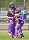 Hayley Matthews and Erin Burns rejoice in the Super Over win, Melbourne Renegades v Hobart Hurricanes , Women's BBL 2016-17, Bendigo, December 18, 2016