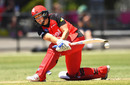Kris Britt sweeps the ball away, Melbourne Renegades v Hobart Hurricanes , Women's BBL 2016-17, Bendigo, December 18, 2016