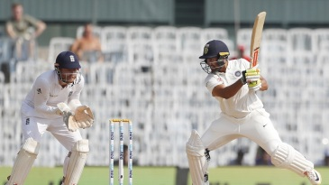 Karun Nair gets through a cut shot