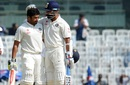 Karun Nair is congratulated by M Vijay upon reaching his hundred, India v England, 5th Test, Chennai, 3rd day, December 18, 2016