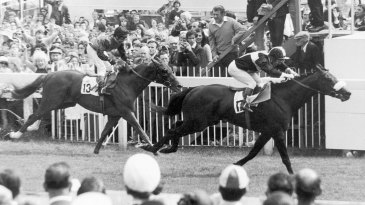 Mill Reef and his rider Geoff Lewis win the 1971 Epsom Derby