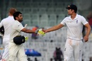 Karun Nair receives a handshake from Alastair Cook after his 303 not out, India v England, 5th Test, Chennai, 3rd day, December 18, 2016