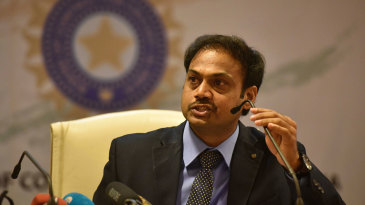 MSK Prasad, India's chairman of selectors, talks at a press conference