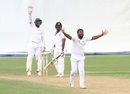 Veerasammy Permaul and Anthony Bramble appeal to the umpire, Guyana v Trinidad & Tobago, Regional 4 Day Tournament, Providence, 4th day, December 19, 2016