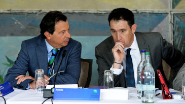 Cricket Australia chairman David Peever (left) and chief executive James Sutherland at the ICC annual conference
