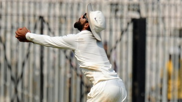 Ravindra Jadeja holds on to a difficult catch to remove Jonny Bairstow