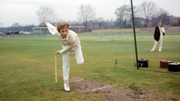 John Lever bowls in the nets