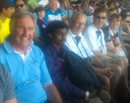 John Lever (far left) in the stands, India v England, fifth Test, day three, Chennai, December 19, 2016