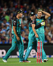 Mark Steketee is mobbed after bowling Jake Lehmann, Adelaide Strikers v Brisbane Heat, Big Bash League 2016-17, Adelaide, December 21, 2016