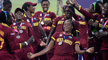 West Indies Women celebrate after beating Australia Women in the final