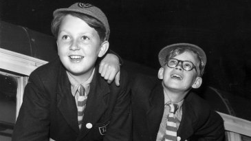 Two young actors playing the main characters JCT Jennings (left) and CEJ Darbishire in the BBC series <i>Jennings at School</I> based on Anthony Buckeridge's book series