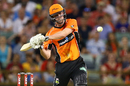 Ashton Turner launches into one during his cameo, Perth Scorchers v Adelaide Strikers, Big Bash League, Perth, December 23, 2016
