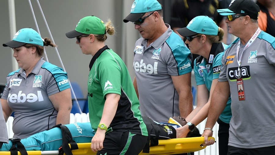Deandra Dottin is stretchered off the field after colliding with a team-mate