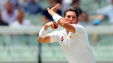 Yasir Shah leaps into his delivery stride