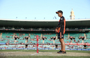 Scorchers coach Justin Langer inspects the pitch before the start of the game, Sydney Sixers v Perth Scorchers, Big Bash League, Sydney, December 27, 2016