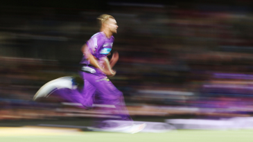 Stuart Broad runs into bowl