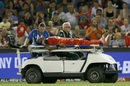Dwayne Bravo was stretchered off the field after jarring his foot near the boundary, Renegades v Scorchers, Big Bash League, Melbourne, December 29, 2016