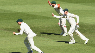 The Australian slip cordon is jubilant after Mohammad Amir's wicket