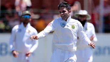 Keshav Maharaj exults after grabbing the last wicket of the Test match