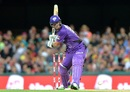 Daniel Christian looks to go down the ground, Brisbane Heat v Hobart Hurricanes, Big Bash League 2016-17. Brisbane, December 30, 2016