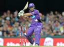 Jonathan Wells shapes up to the pull the ball, Brisbane Heat v Hobart Hurricanes, Big Bash League 2016-17. Brisbane, December 30, 2016