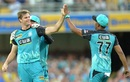 Mark Steketee celebrates with team-mates after grabbing an early wicket, Brisbane Heat v Hobart Hurricanes, Big Bash League 2016-17. Brisbane, December 30, 2016