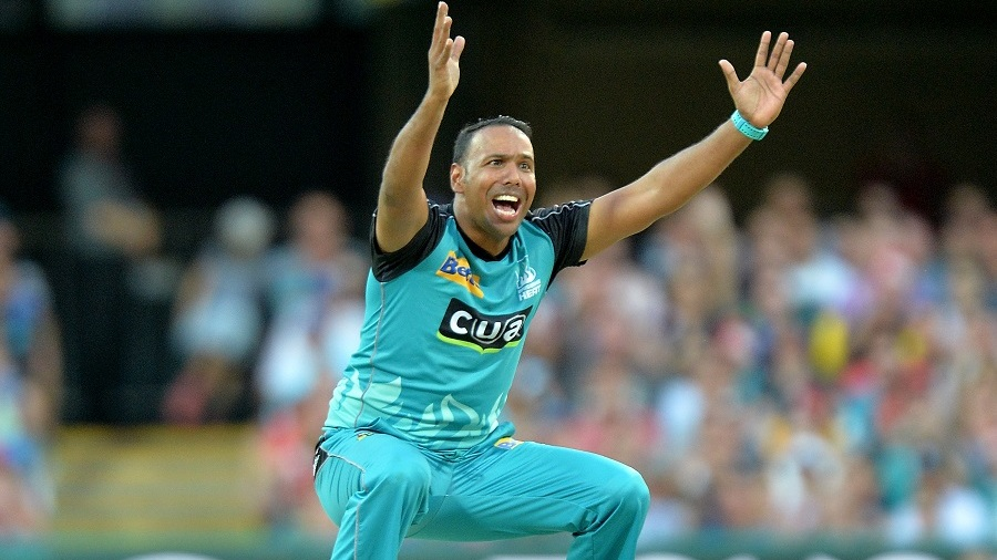 Samuel Badree appeals for a wicket