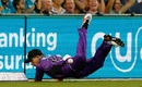 D'Arcy Short put down a tough chance at cow corner, Brisbane Heat v Hobart Hurricanes, Big Bash League 2016-17. Brisbane, December 30, 2016