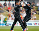 Luke Ronchi high fives Neil Broom after a sensational catch to dismiss Imrul Kayes, New Zealand v Bangladesh, 3rd ODI, Nelson, December 31, 2016