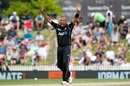 Jeetan Patel is ecstatic after removing Mosaddek Hossain,  New Zealand v Bangladesh, 3rd ODI, Nelson, December 31, 2016