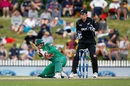 Nurul Hasan goes low for a scoop, New Zealand v Bangladesh, 3rd ODI, Nelson, December 31, 2016