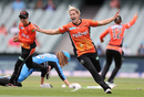 Katherine Brunt celebrates a wicket, Strikers v Scorchers, Women's Big Bash League, Adelaide, December 31, 2016