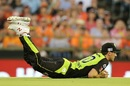 Pat Cummins completes a sharp catch to remove Michael Klinger, Perth Scorchers v Sydney Thunder, Big Bash League 2016-17, Perth, January 1, 2017