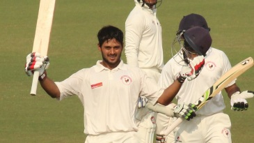 Priyank Panchal celebrates his fifth century of the Ranji Trophy season