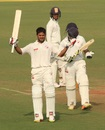 Priyank Panchal celebrates his fifth century of the Ranji Trophy season, Gujarat v Jharkhand, semi-final, Ranji Trophy 2016-17, day 1, Nagpur, January 1, 2017