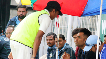 MS Dhoni attends the semi-final in Nagpur