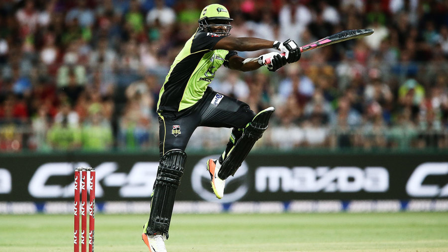 Andre Russell swats one through the off side
