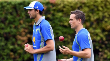 Ashton Agar and Steve O'Keefe prepare to bowl in the nets