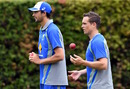 Ashton Agar and Steve O'Keefe prepare to bowl in the nets, Sydney, January 2, 2017