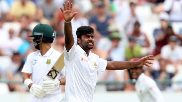 Lahiru Kumara appeals for the wicket of JP Duminy