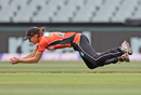 Lauren Ebsary completes a diving catch, Strikers v Scorchers, Women's Big Bash League, Adelaide, December 31, 2016