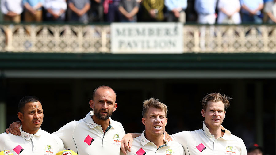 Usman Khawaja, Nathan Lyon, David Warner and Steven Smith sing the national anthem