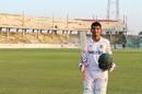 Saif Hassan poses at stumps after making 131 not out, Dhaka Division v Barisal Division, National Cricket League 2016-17, Sylhet, January 3, 2016