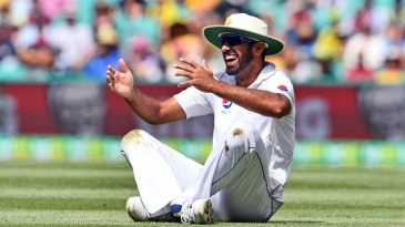 Wahab Riaz sees the lighter side after a misfield